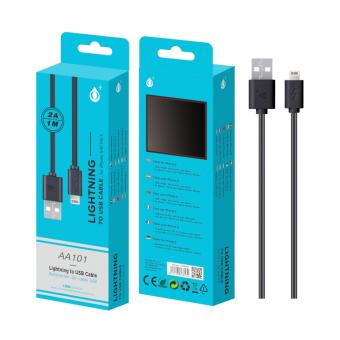 Laidas Lightning USB (iPhone 5/6/7/8/X) juodas