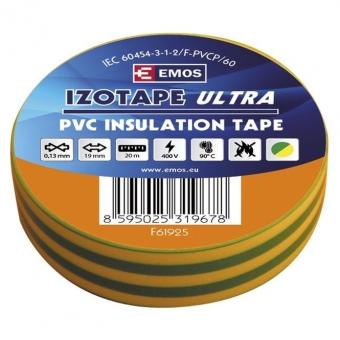 PVC. izoliacinė juosta Izotape Ultra 19/20 (žalia/geltona)