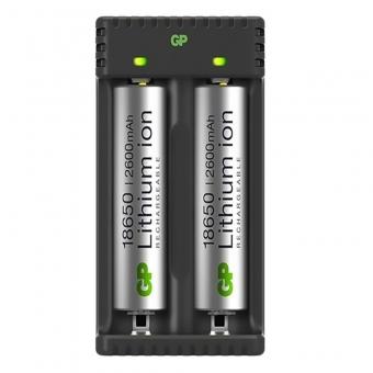 Įkroviklis GP Li-ion + 2x18650 2600mAh su apsauga