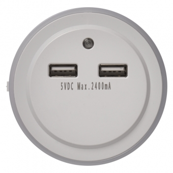 Naktinė lemputė EMOS 220 V 2x USB 5V 2.4A