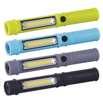 Rankinis žibintuvėlis 3W COB LED + 1 LED, 3x AAA