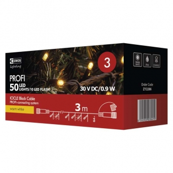 Profi LED girlianda 40 LED + 10 mirksinčių LED,  3m, šiltai balta šviesa, juodas laidas